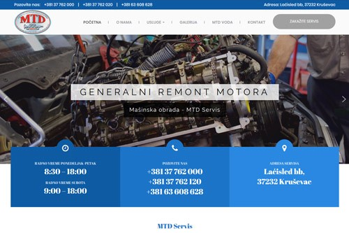 Web prezentacija MTD servis