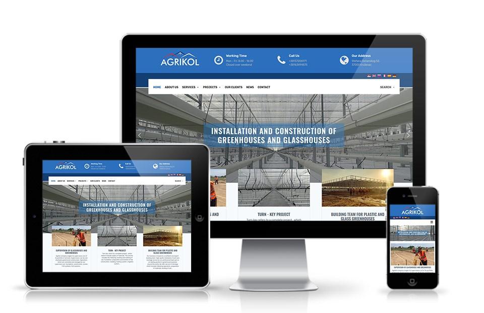 Web sajt za izgradnju plastenika i staklenika Agrikol